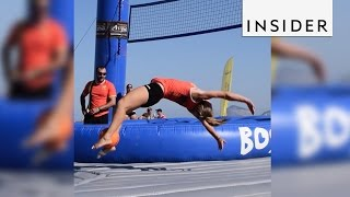 Download Bossaball combines volleyball, soccer, and gymnastics Video