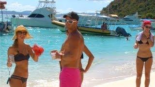 Download British Virgin Islands - Soggy Dollar Beach Bar, White Bay, Jost Van Dyke, BVI, Caribbean Video