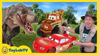 Download T-Rex Dinosaur & Cars 3 Surprise Toy Search With Lightning McQueen & Giant Mater Truck Video