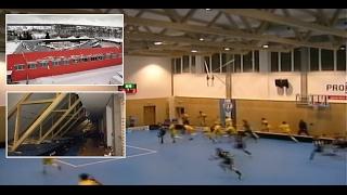 Download Roof falling during floorball game // Pád střechy během florbalového utkání // 14.01.2017 Video
