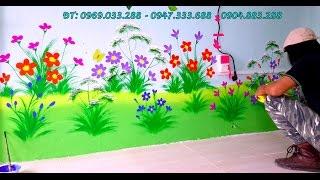 Download Trang trí chân tường tranh mầm non - vẽ hoa cỏ. Video