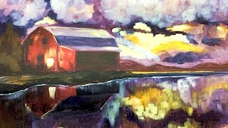 Download Landscape Acrylic Painting on Canvas tutorial Red Barn Reflected in a Lake Video