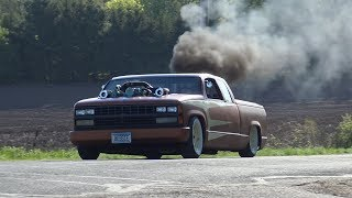 Download Detroit Diesel Custom Twin Turbos that's Rollin' Coal in a chopped and bagged '89 Chev pickup. Video