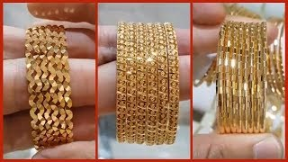 Download Latest Gold Bangle Designs Six and Eight piece Bangle Sets   Light Weight Gold Bangles Video