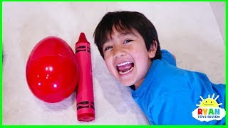 Download Ryan Pretend Play and Learn Colors with Giant Crayons Egg Surprise Toys! Video