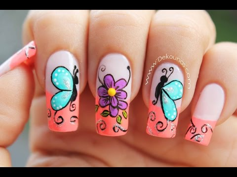 Decoracion de uñas mariposas y flores facil - Butterfly and flower nail art