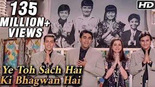 Download Ye Toh Sach Hai Ki Bhagwan Hai - Hum Saath Saath Hain - Mohnish Behl, Salman Khan, Saif Ali Khan Video