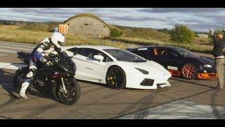 Download Ultra HD 4K Drag RACE Bugatti Veyron Vitesse vs Lambo Aventador vs BMW S1000RR- presented by Samsung Video