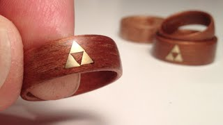 Download How to make Wood Rings - bent veneer w brass Zelda Triforce inlay Video