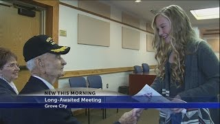 Download 97-year-old veteran meets girl who wrote 'Thank you' letter Video