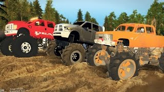 Download MEGATRUCKS! FORD vs DODGE vs CHEVY! 4x4 Mudding & Off-Roading! (SpinTires) Video