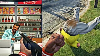 Download GTA 5 Online - FAT GUY SH!TS HIS PANTS AFTER GETTING KNOCKED OUT! CRAZY STORE ROBBERY GONE WRONG! Video