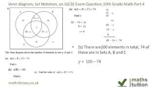 Download Venn diagrams, Set Notation, an iGCSE Exam Question, 10th Grade Math Part 4 Video