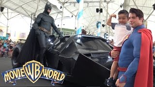 Download Meeting Our Favorite Superheroes Batman Superman At Warner Bros Movie World Theme Park Ckn Toys Video