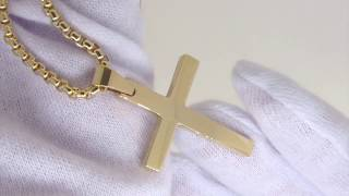 Download Gold Christian Cross Pendant   Gold Cross Necklace   Stainless Steel Video