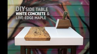 Download DIY White Concrete Table w/ Live-Edge Maple Inlay (using GFRC mix) - How To Make Video