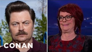 Download Megan Mullally Taught Nick Offerman How To Laugh Video