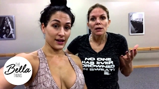 Download Nikki reveals her battle wound from Natalya after barre class with Momma Bella Video