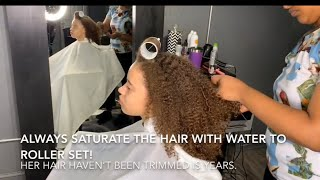 Download When she sees her hair straight for the first time! / The magic of roller set! Video