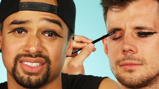 Download Guys Try Winged Eyeliner On Each Other Video