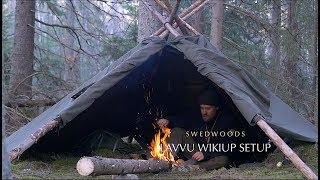 Download 3 Lavvu Poncho Wikiup Setup - Bushcraft Bow Saw - Solo Overnight - Wood Repair Video