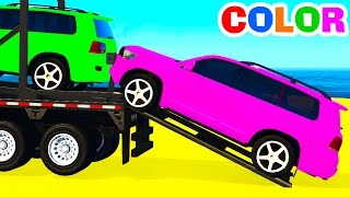 Download COLOR OFFROAD CARS Transportation & Spiderman Cartoon for Kids w Colors for Children Nursery Rhymes Video