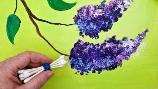 Download LILACS Cotton Swabs Painting Technique for BEGINNERS EASY Acrylic Painting Video