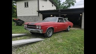 Download Survivor Cranberry Red 1970 Chevelle SS396 4 Speed Sees Daylight After 40 Year Hibernation. Video