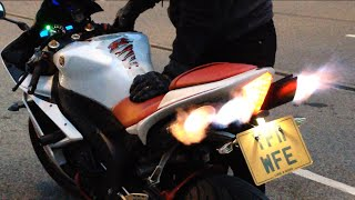 Download Yamaha R1 popping flames decat toce exhaust Video
