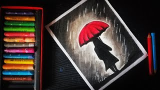 Download Rainy season scenery oil pastel drawing | girl with umbrella oil pastel drawing Video