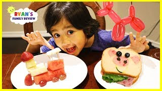 Download Ryan makes fun food for kids with animal shaped sandwich and fruit train! Video