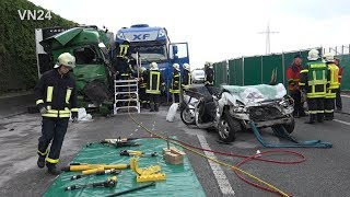 Download 18.05.2017 - VN24 - Zwei Tote nach tragischem LKW Unfall auf A2 bei Castrop Video