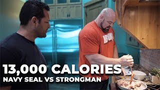 Download FULL DAY OF EATING (13,000 CALORIES) | NAVY SEAL VS STRONGMAN Video