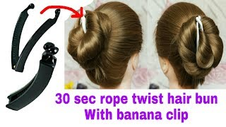 Download Wedding Rope Twist hair bun with Banana Clip for Function || Stylopedia Video