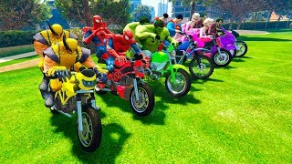 Download LEARN COLOR with Superheroes Motorcycles golf park and Police cars for kids funny Video