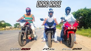 Download R15 V3 vs RS 200 vs NS 200 - Epic Drag Race | Highway Battle Video