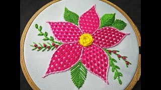 Download Hand Embroidery Design - Checkered Stitch Embroidery | Fantasy Flower Stitch | Checkered Stitch Video