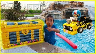 Download Ryan found treasure with surprise toys in our swimming pool!!! Car Racing playtime fun!!!! Video