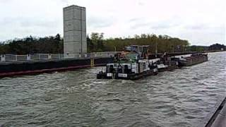 Download Barge on the world longest (918m) water canal bridge over the Elba river, Magdeburg Germany Video
