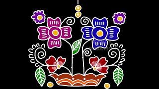 Download Creative flower pot rangoli design 8*8dots with colors | Flower pot rangoli | Muggulu | Video