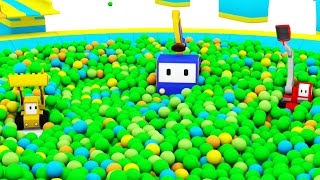 Download The Ball Pit in the Amusement Park - Learn with Tiny Trucks : bulldozer , crane , excavator Video