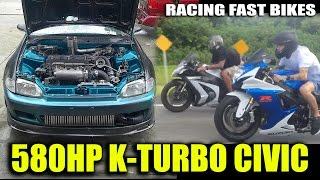 Download 580HP K20 Civic VS GSXR 750, ZX10 BIKES, Twin-Turbo Mustang, Pro Charged Camaro - STREET RACING Video