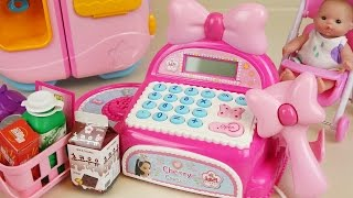 Download Pink Mart register and Baby doll refrigerator toys play Video