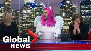 Download Halloween 2019: Global Calgary chats with 'Ferdinand' the mystical unicorn as costume goes viral Video