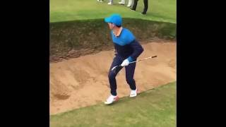 Download Rory McIlroy takes 6 to get out of a greenside bunker at the ″postage stamp″. Video