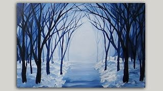 Download Acrylic Painting Snowy Winter Forest Path Video