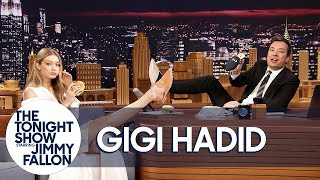 Download Gigi Hadid Gives Jimmy the Only Men's Pair of Her EyeLoveMore Mules Video