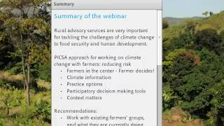 Download Participatory integrated climate services for agriculture – Panel discussion and summary Video