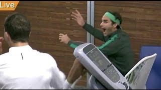 Download Federer and Dimitrov watch Sharapova vs Davis Video