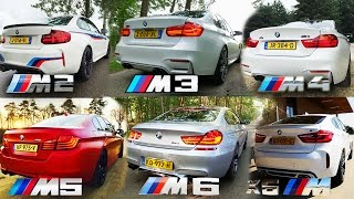 Download BMW M2 vs M3 vs M4 vs M5 vs M6 vs X6 M ACCELERATION & TOP SPEED POV AUTOBAHN Video